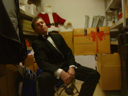 Robert Bekkers, guitarist, in the dressing room after an exhausting concert