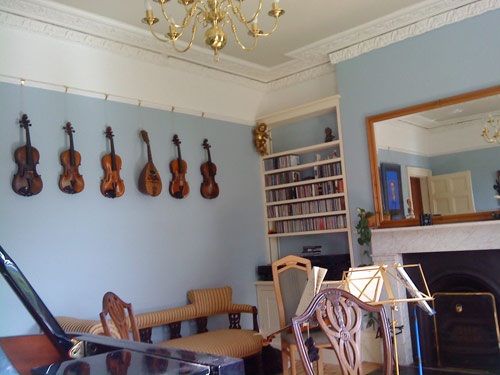 Music room in Georgian house in Bristol