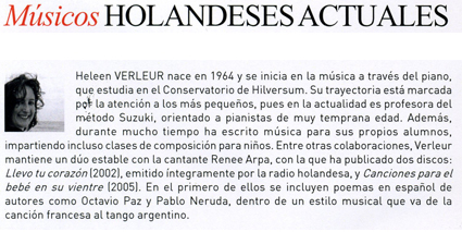 Dutch composer Heleen Verleur, Spanish biography May 2009