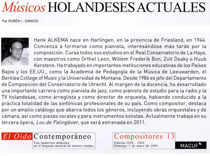 Dutch composer Henk Alkema, biography in Spanish, May 2009