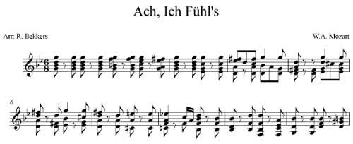 Ach, Ich Fuhl's by Mozart arranged for guitar and voice by Robert Bekkers
