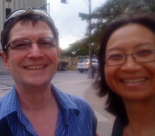 John Carollo, composer, and Anne Ku, blogger, Honolulu, 3 April 2011