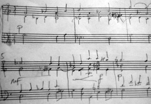Pencilled notes for piano solo from 2nd piano duet of Henk Alkema