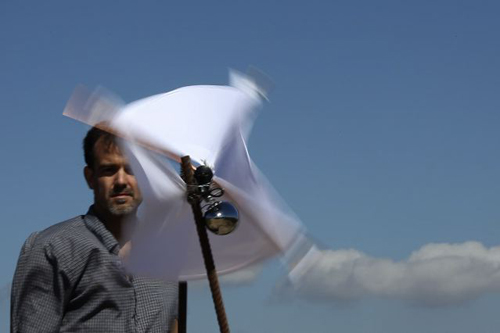 Julian Scaff and his wind machine on Paleohora, Crete