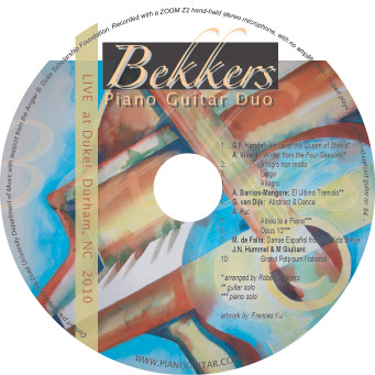 Bekkers Piano Guitar Duk Live at Duke 2010 CD album