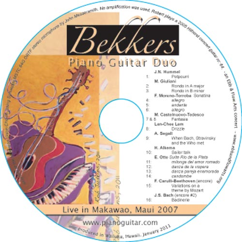 Bekkers Piano Guitar Duo Live in Makawao CD label