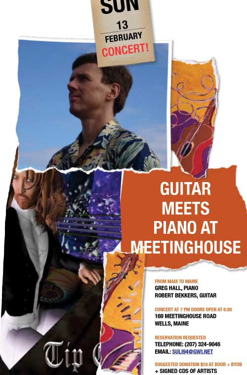 Guitar meets piano at Meetinghouse concert in Wells, Maine