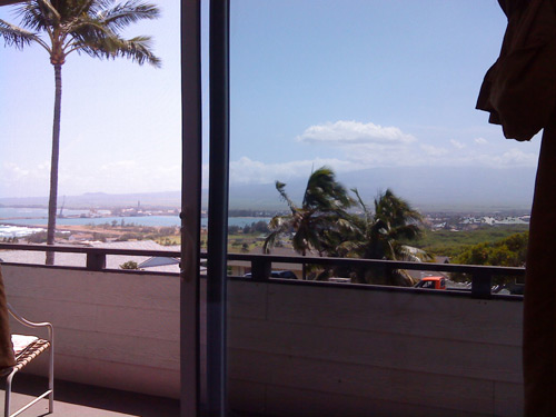 View of the balcony and ocean